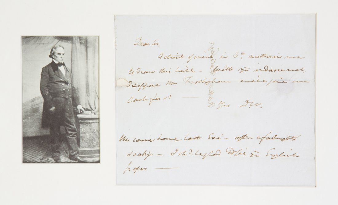 WEBSTER, DANIEL. AN, initialled,  one page, s.l., n.d.