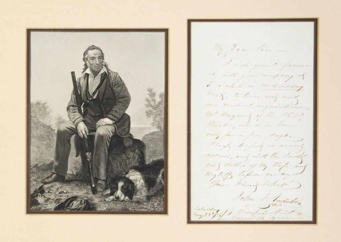 AUDUBON, JOHN JAMES. Autographed letter signed, 1p., Lo