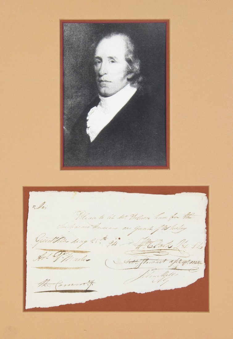 (LEWIS AND CLARK) CLARK, WILLIAM. Autograph note signed