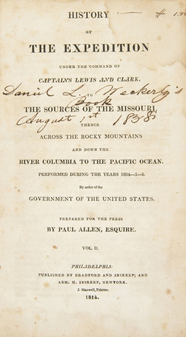 (LEWIS AND CLARK)  History of the Expedition to the Sou