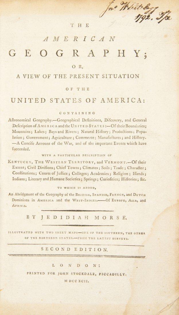 MORSE, JEDIDIAH. The American Geography. London, 1792.