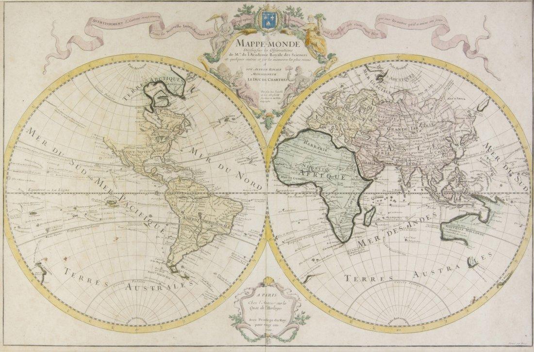 (MAP) DELISLE, GUILLAUME. Mappe-monde dressee sur les o