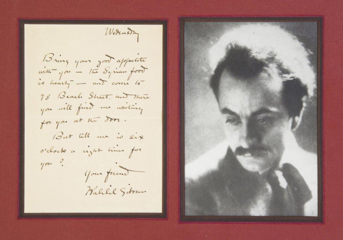 GIBRAN, KHALIL. Autograph letter signed, 1p., n.d., s.l