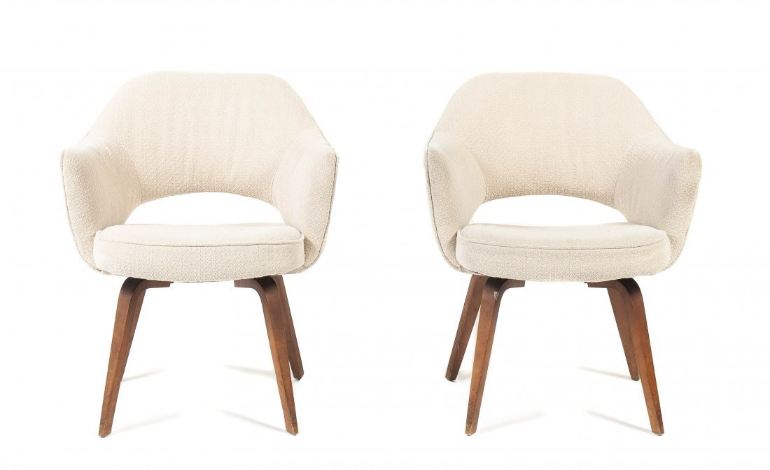 A Pair of Danish Style Upholstered Armchairs, Height 31