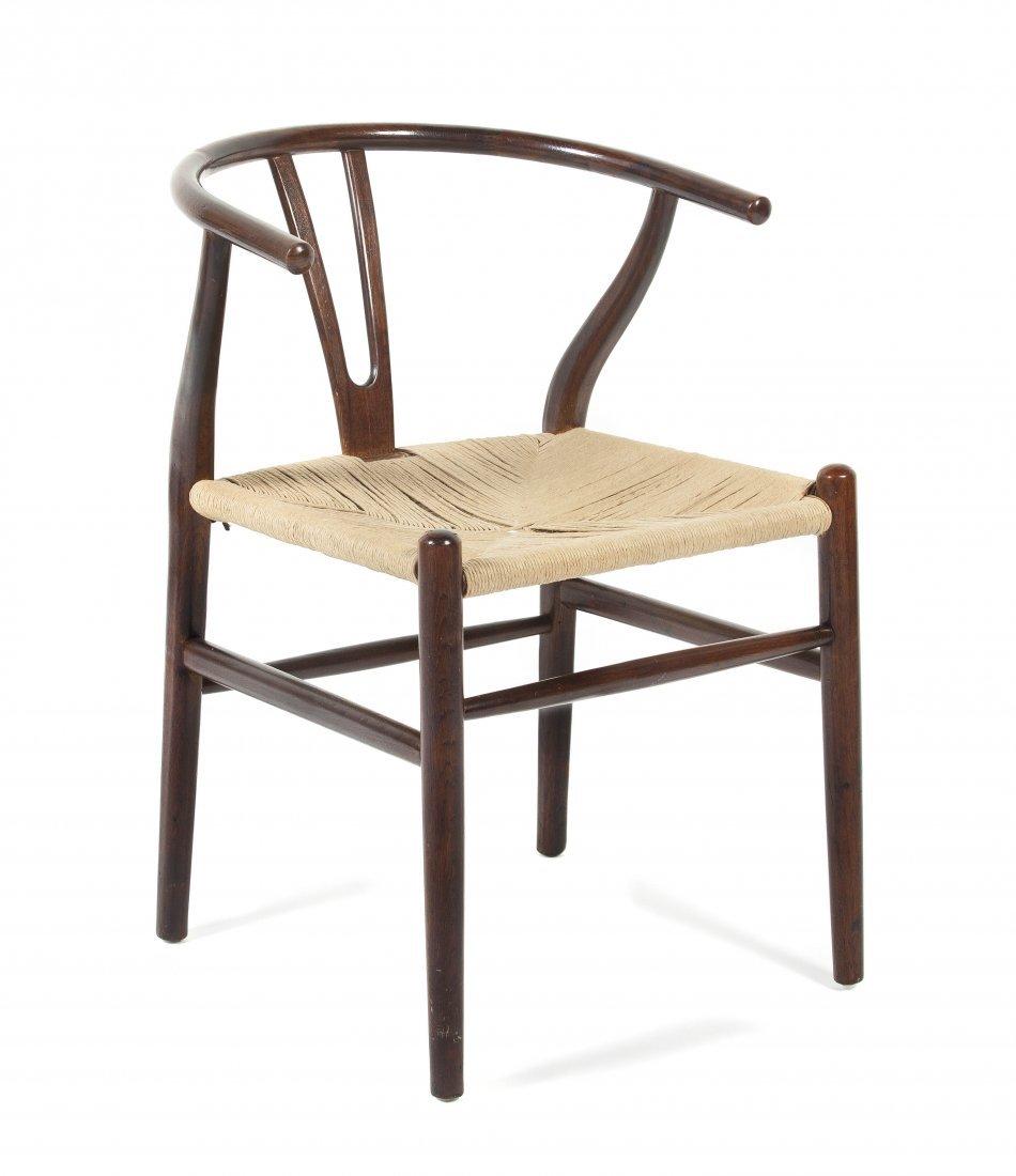 A Danish Hickory Wishbone Chair, attributed to Hans Weg