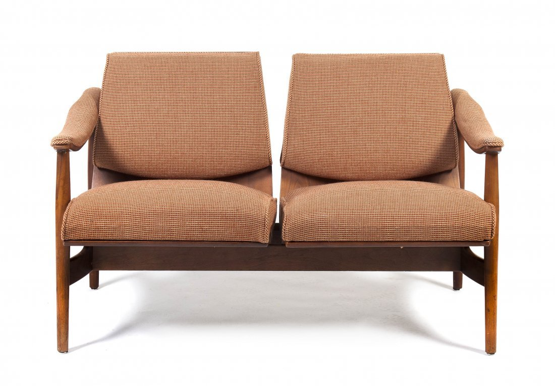 A Thonet Upholstered Settee, Height 30 1/2 x width 51 x