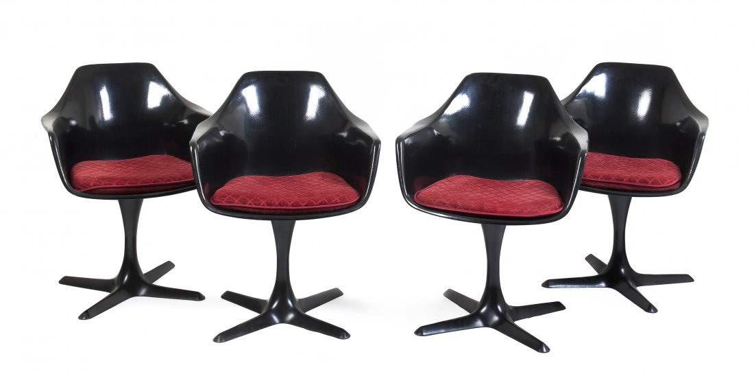A Set of Four Molded Fiberglass Tulip Chairs, after the
