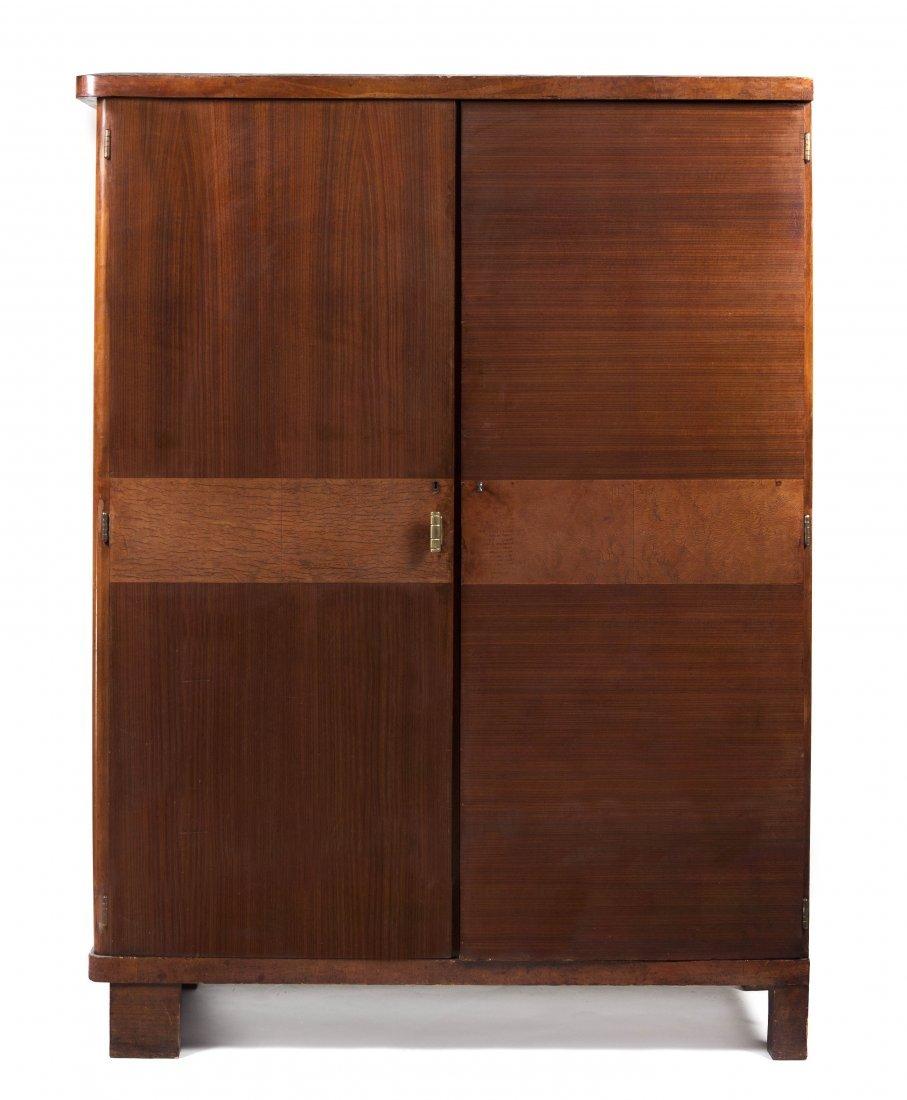An Art Deco Walnut Armoire, Height 77 x width 57 x dept