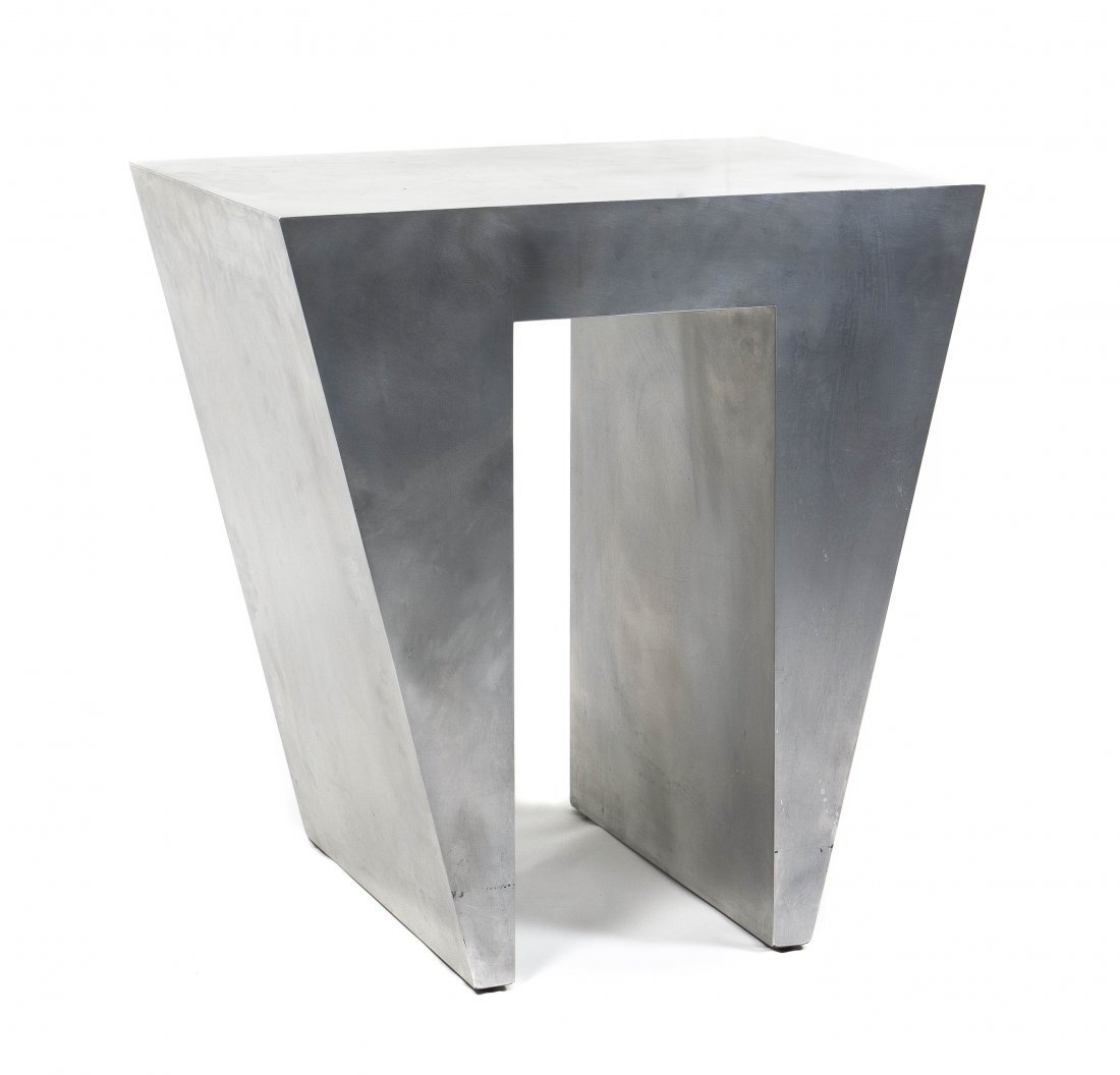 A Modernist Aluminum Clad Side Table, Height 23 x width