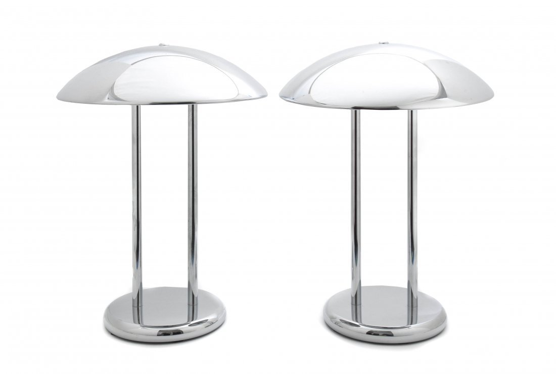 A Pair of Modernist Chrome Table Lamps, Height 17 inche