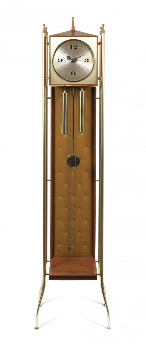 A George Nelson Brass and Walnut Tall Case Clock, Heigh