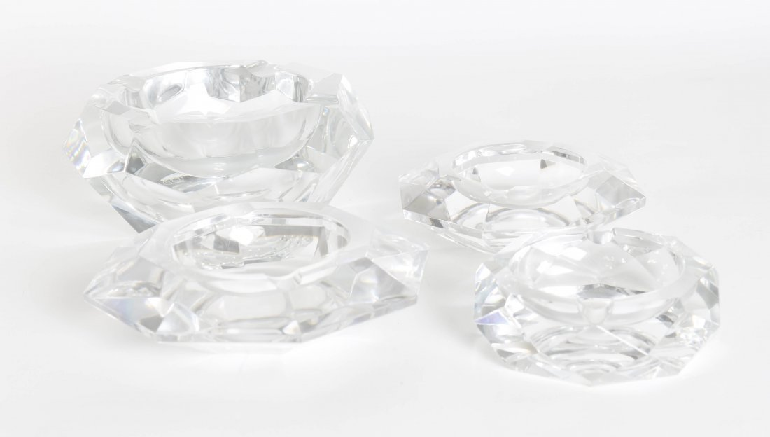 Two Baccarat Glass Ash Receivers, Diameter of first 7 i