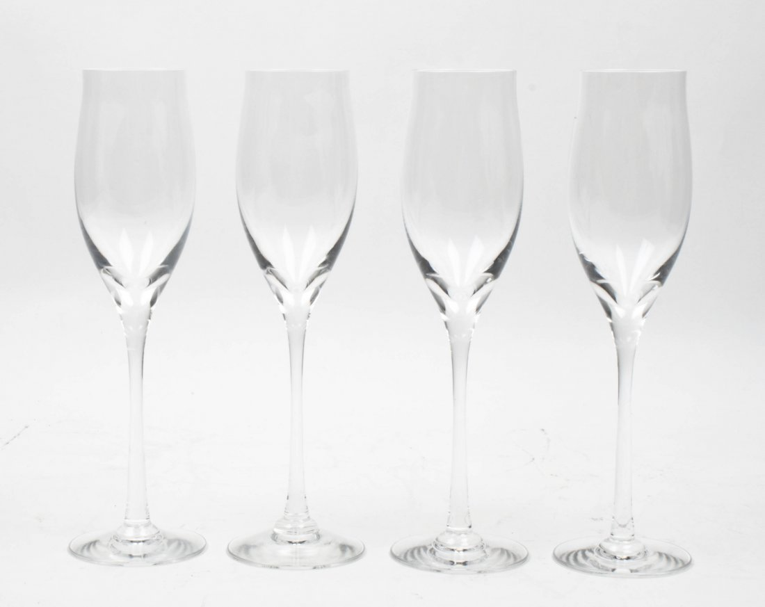 A Set of Twelve Champagne Flutes, Cartier, Height of ea