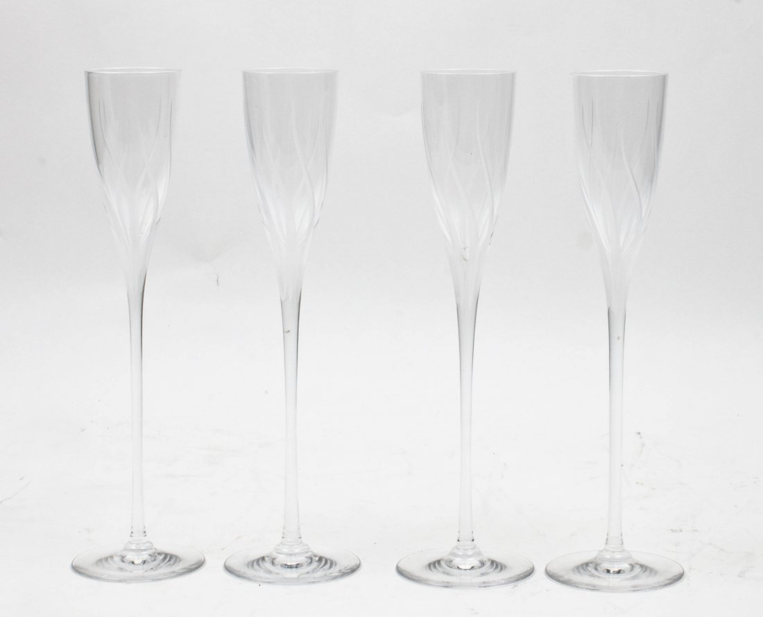 A Set of Four Etched Glass Champagne Flutes, Cartier, H