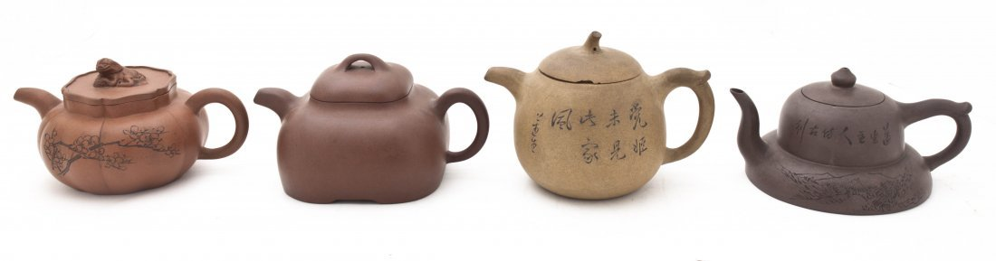 Four Yixing Pottery Teapots, Height of tallest 4 inches