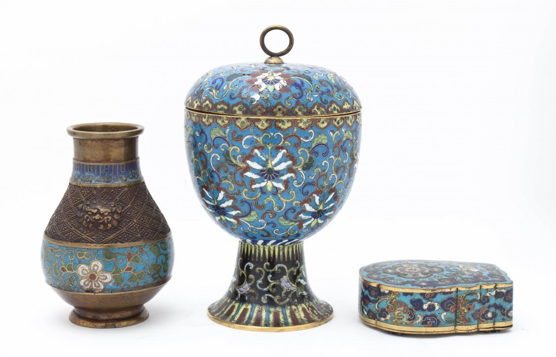 Three Chinese Cloisonne Enamel Articles, Height of tall