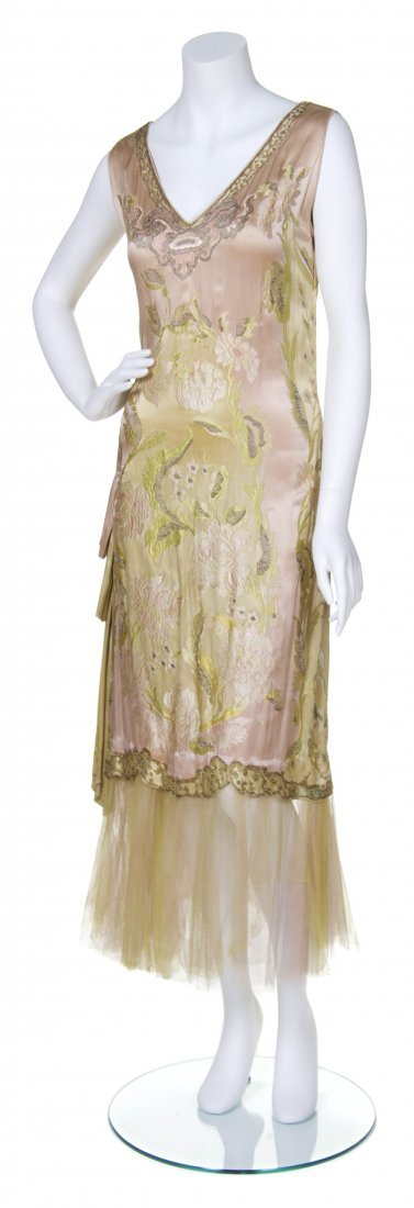 A Pink and Green Silk Embroidered Dress,