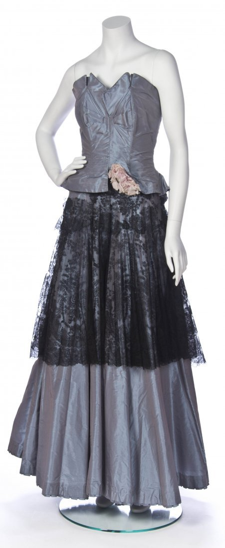 A Salon Moderne Blue with Black Lace Two Piece Evening