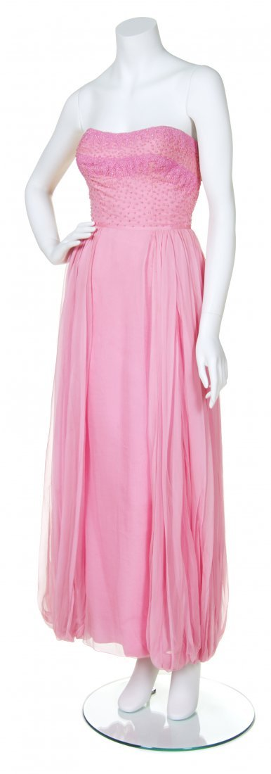 A Salon Moderne Pink Silk and Beaded Evening Gown,