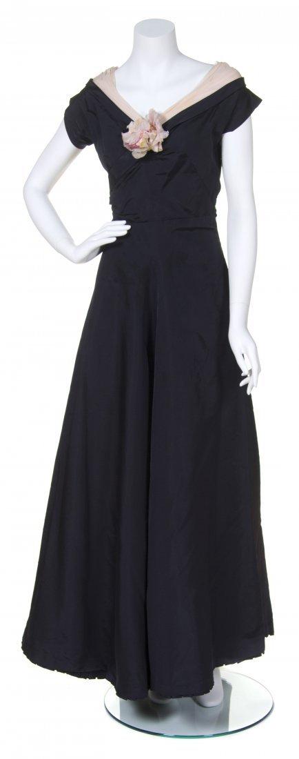 A Salon Moderne Navy Silk Dress,