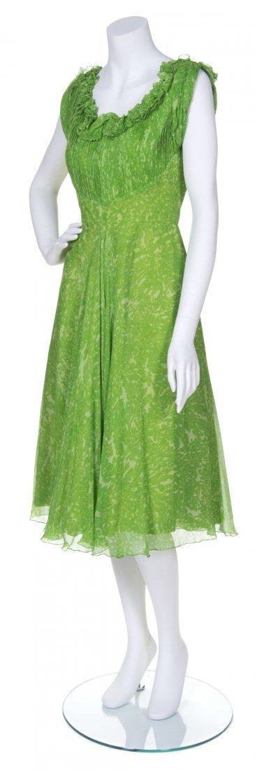 A Madame Gres Green Printed Chiffon Dress,