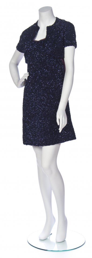 A Jacques Griffe Navy Sequin Cocktail Dress and Bolero,