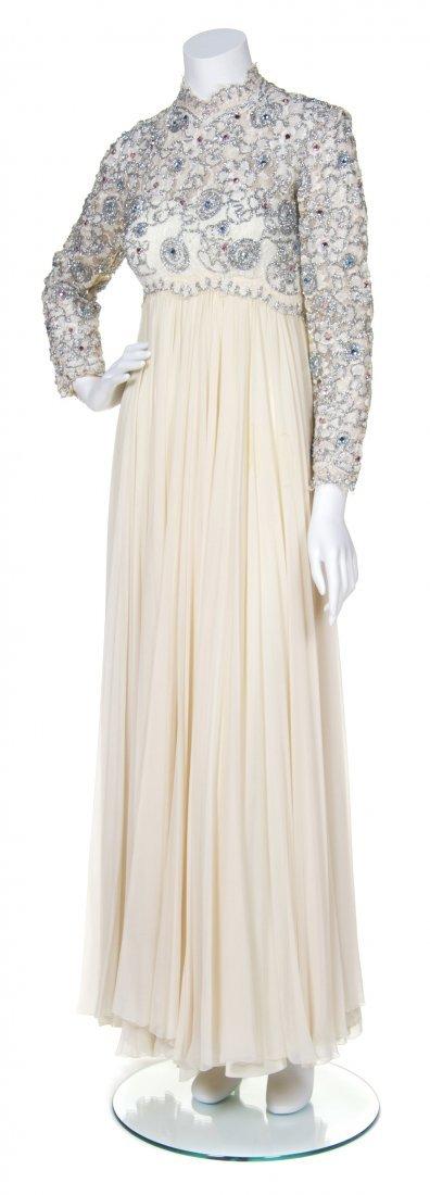 A Cream Chiffon Evening Gown,