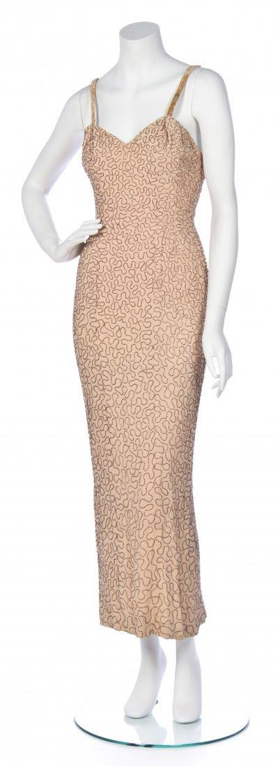 A Ceil Chapman Pink Silk Beaded Gown,