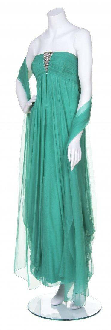 An Irene Jade Green Chiffon Evening Gown,