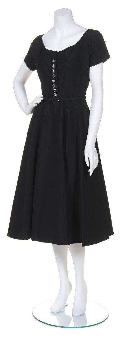 A Traina-Norell Black Silk Evening Dress,
