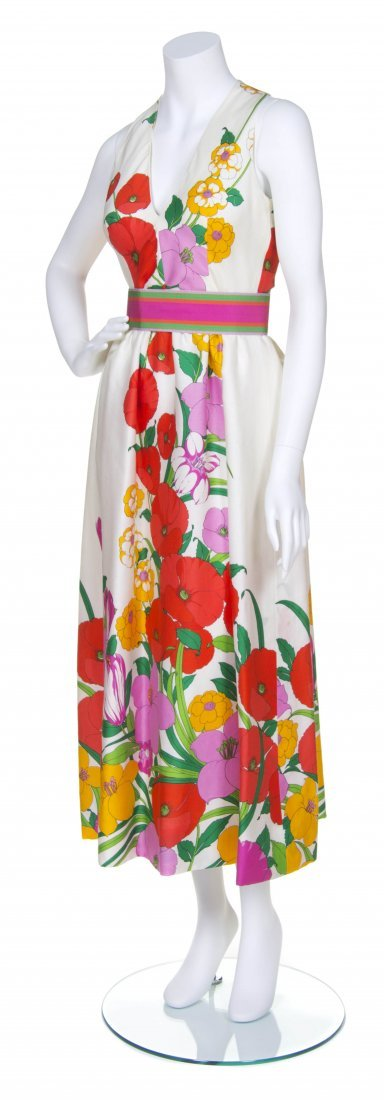A Traina-Norell Floral Poppy Printed Silk Evening Dress