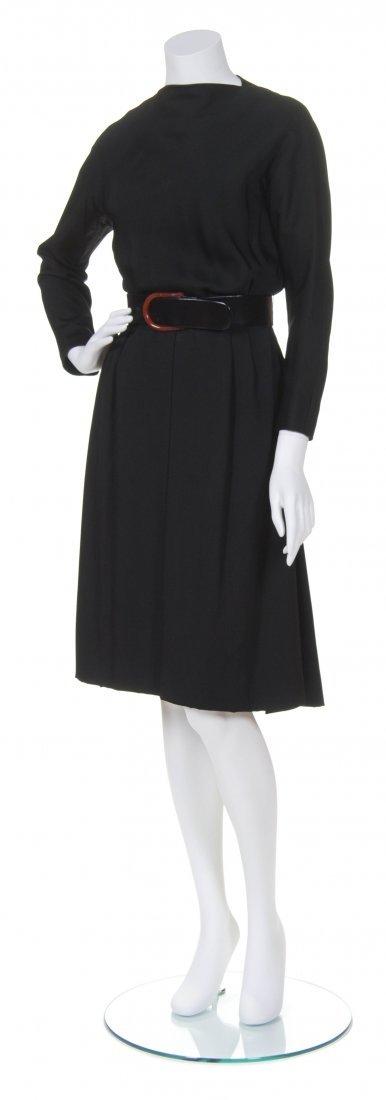 A Teal Traina Black Silk Dinner Dress, Size 10.