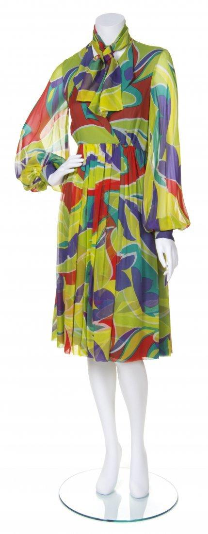 A Teal Traina Multicolor Printed Silk Chiffon Dress,