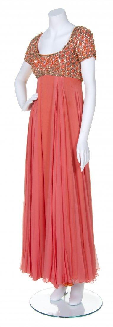 A Helen Rose Peach Silk Chiffon Dress,