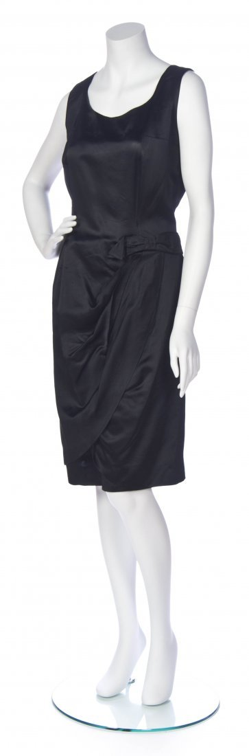 A Maggy Rouf Black Satin Cocktail Dress,