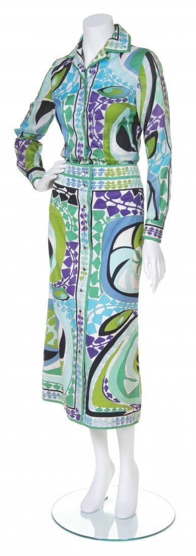 An Emilio Pucci Blue and Green Cotton Print Skirt Ensem