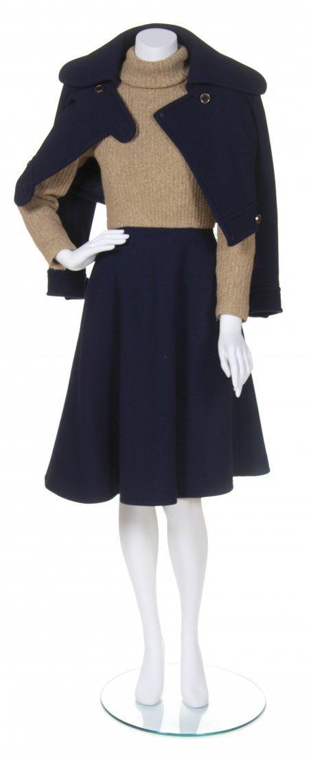 A Geoffrey Beene Navy Wool Daywear Ensemble, Size 8.