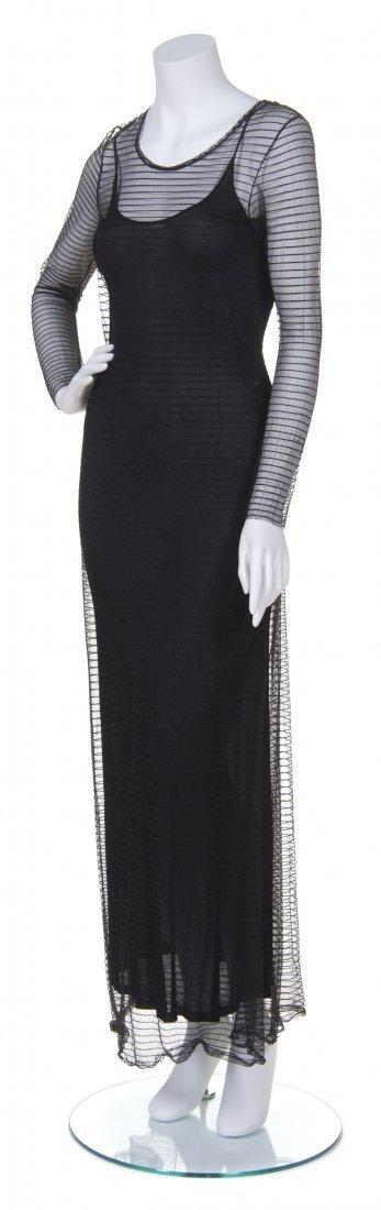 A Yohji Yamamoto Black Sheer Mesh Dress, Size M.