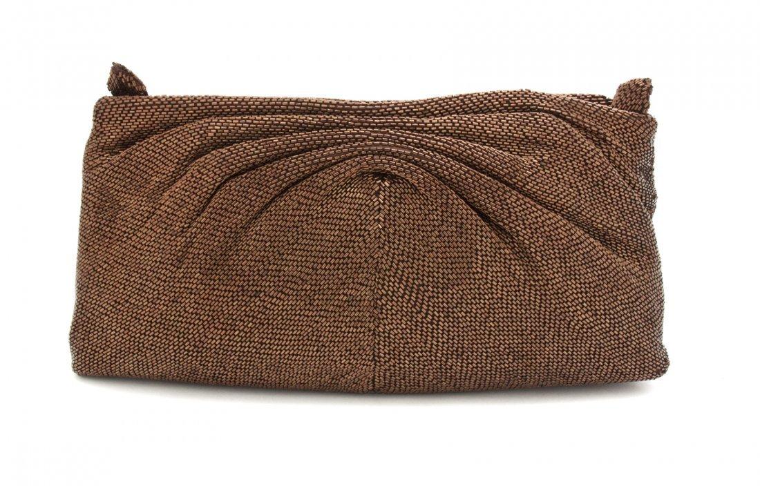 A Hattie Carnegie Bronze Beaded Bag. 11 x 6 x 2 inches.