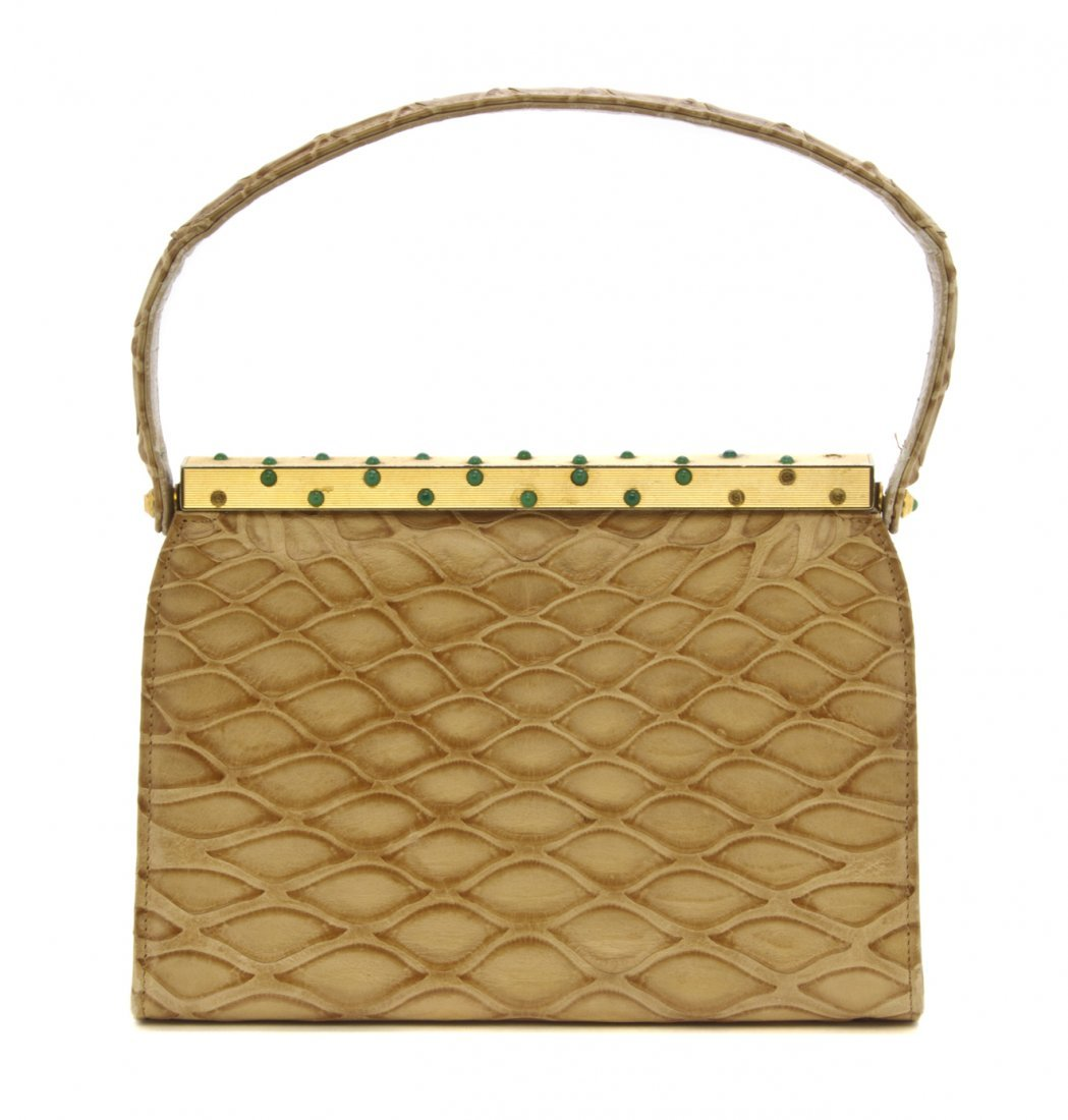 A Koret Beige Lizardskin Bag, 8 x 6 x 2 3/4 inches.