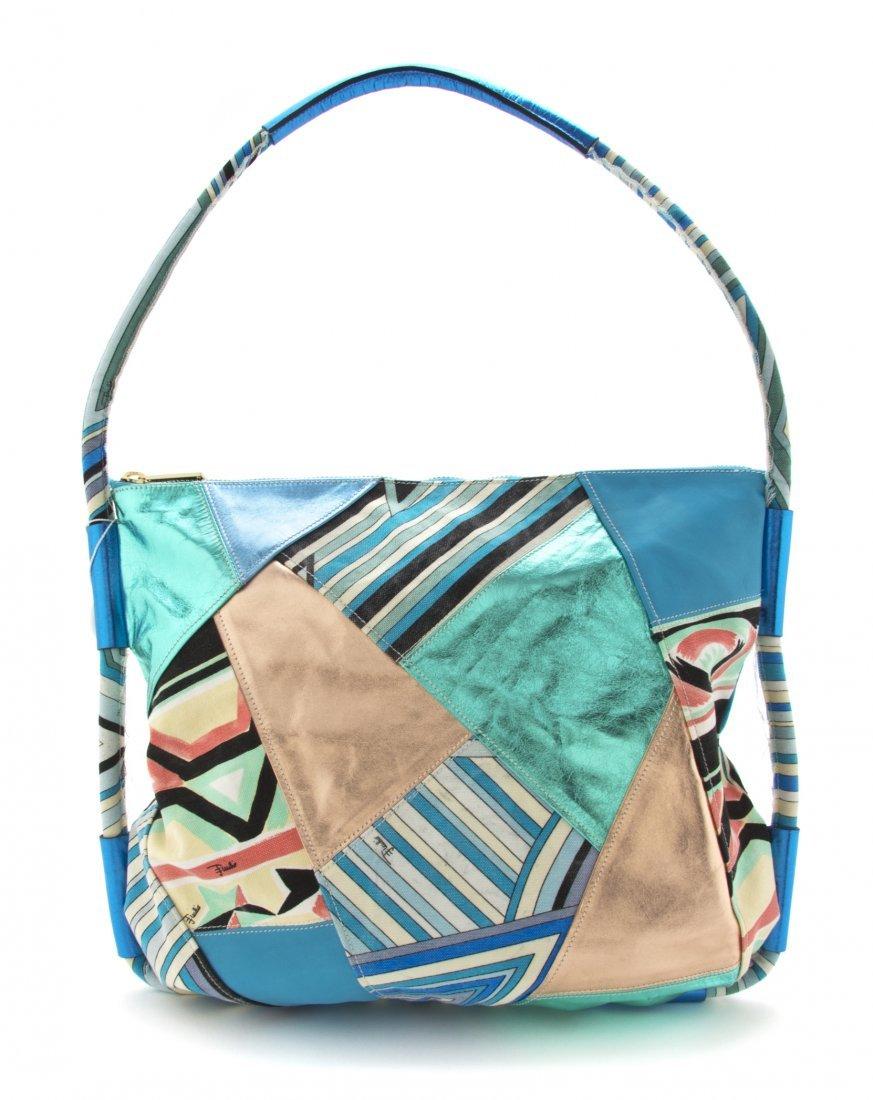 An Emilio Pucci Multicolor Cotton Print Bag, 18 x 15 x