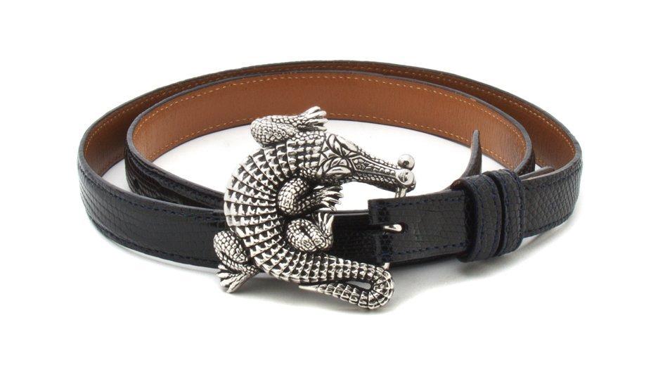 A Kieselstein Cord Sterling Silver Alligator Belt Buckl