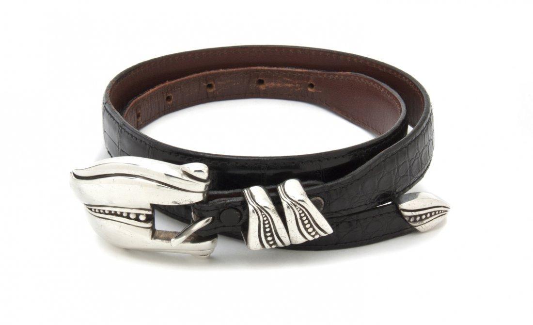 A Kieselstein Cord Sterling Silver Belt Buckle,
