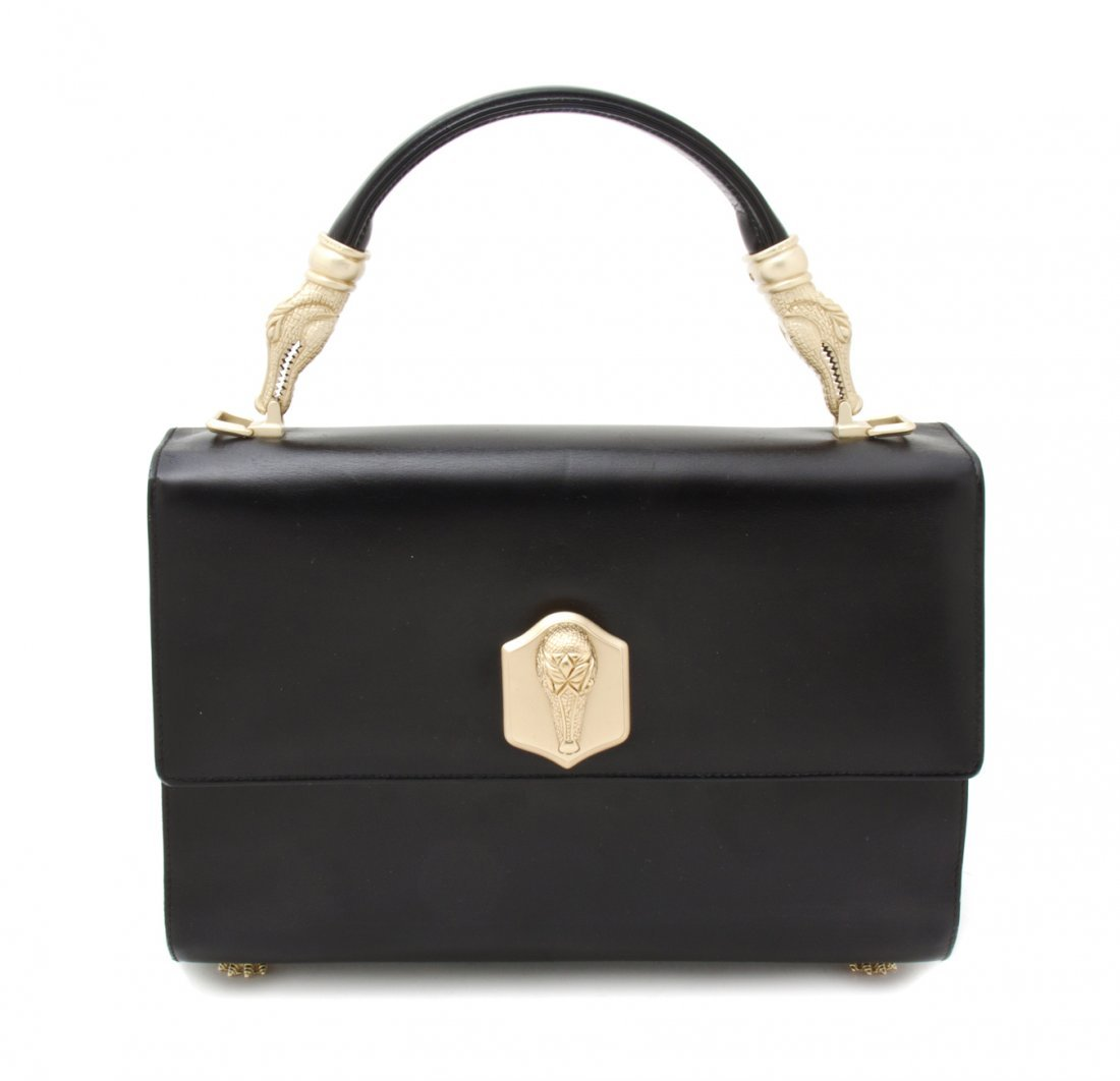 A Kieselstein Cord Black Leather and Goldtone Bag, 10 1