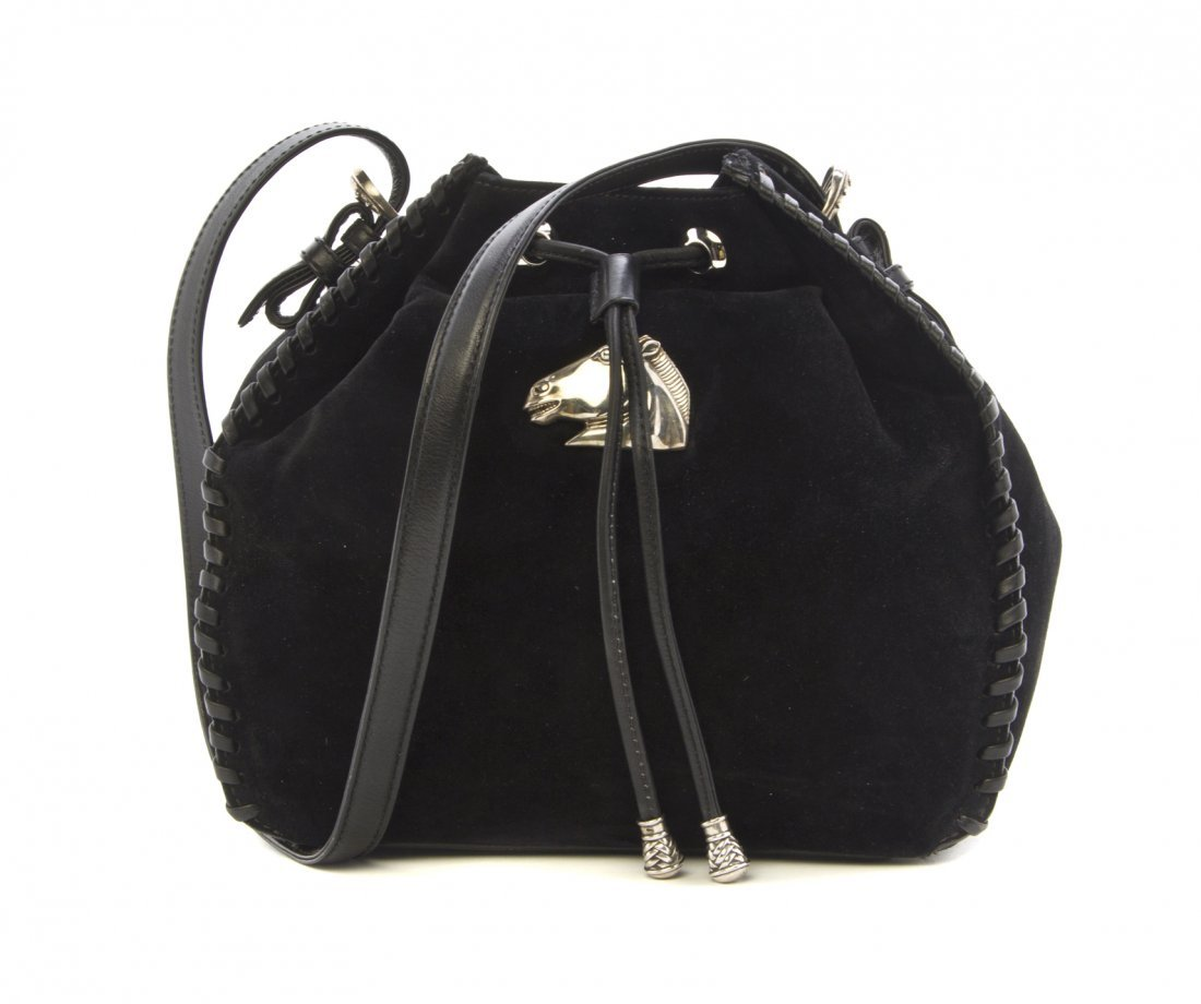 A Kieselstein Cord Suede Bucket Bag, 9 1/2 x 8 x 3 1/2