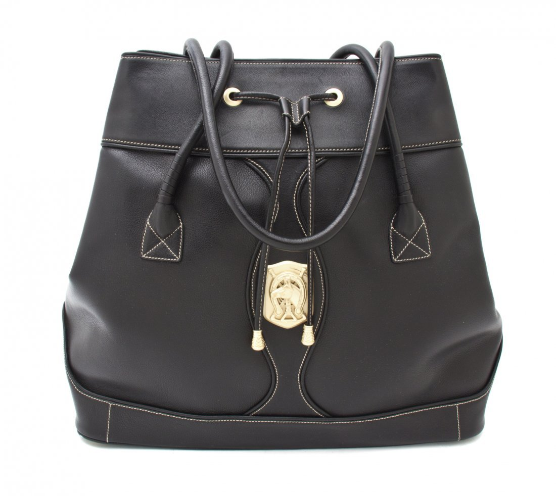 A Barry Kieselstein Cord Black Leather Tote, 17 x 15 x