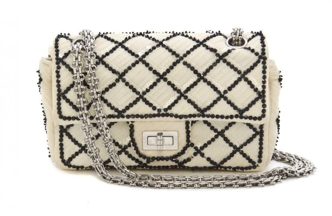 A Chanel Limited Edition Cream Tulle Quilted Bag, 8 1/2