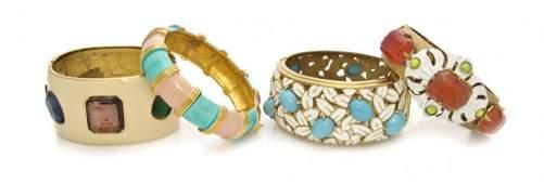 A Group of Four Hinged Bangle Bracelets,