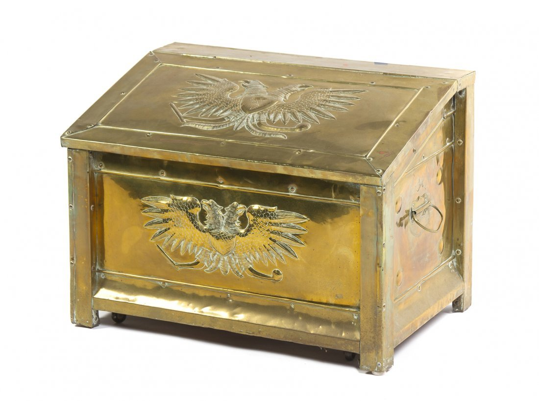 A Brass and Wood-Lined Coal Bin or Wood Box, Width 26 1