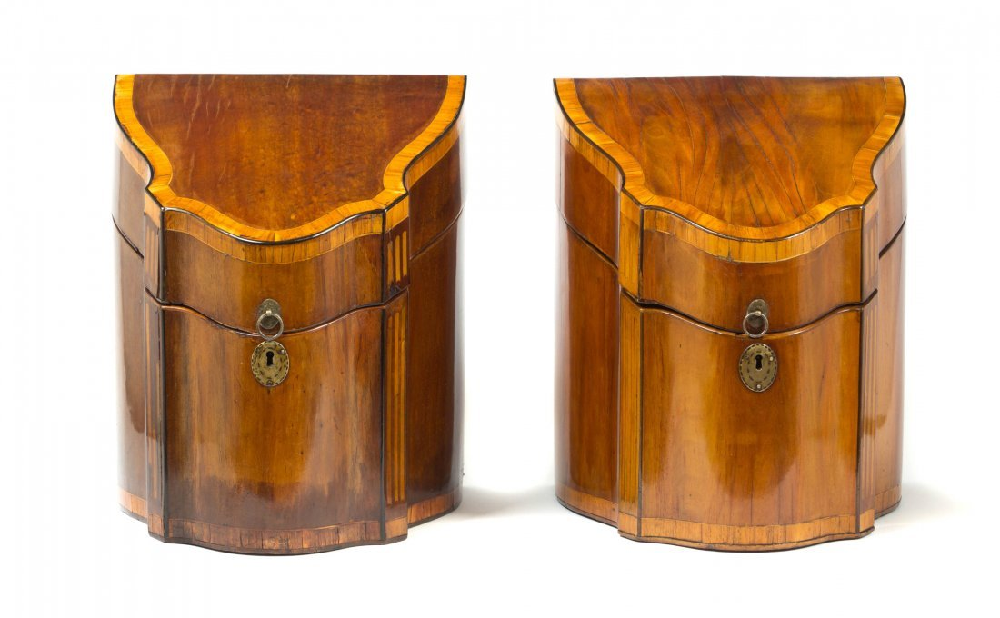 A Pair of George III Style Mahogany Knife Boxes, Height